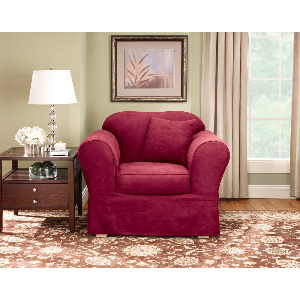 Sure Fit Suede Supreme - Chair Slipcover  - Burgundy (SF37475) by Surefit