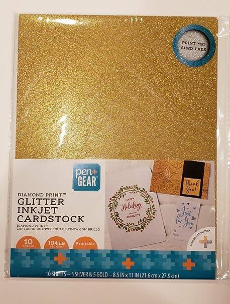 Pen+Gear Papel de cartulina con purpurina plateada y dorada, 10 ...