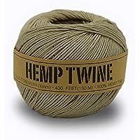 100% Hemp Twine Ball 1MM, 100G/430 Ft. - 20 lb. Test Strength - Natural