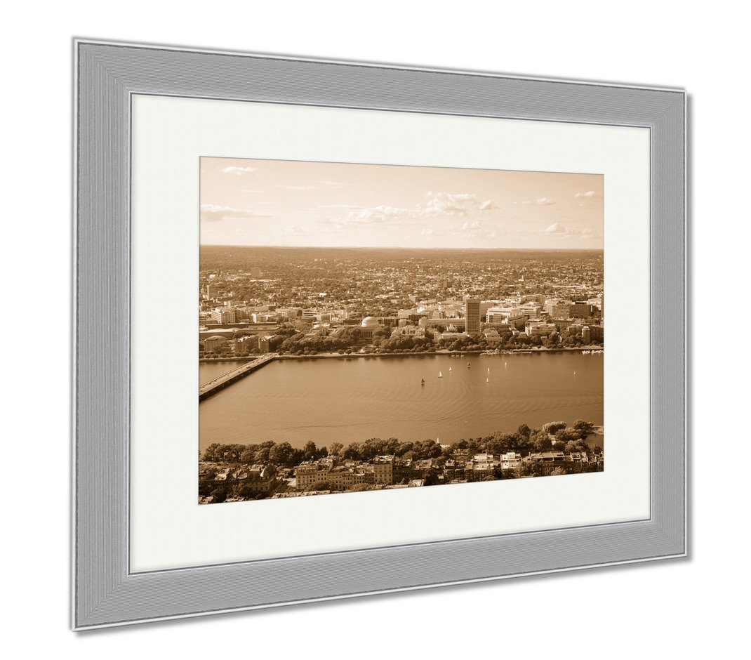 Ashley Framed Prints Mit Campus On Charles River Bank Boston, Wall Art Home Decoration, Sepia, 34x40 (frame size), Silver Frame, AG6020269