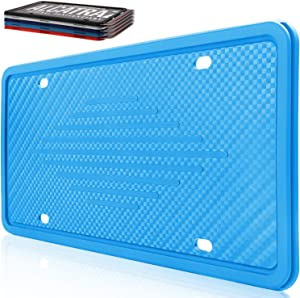 Intermerge Silicone License Plate Frame Universal US Auto License Plate Holder, Blue License Plate Frame Rust-Proof, Rattle-Proof, Weather-Proof for Car License Plate Holder(1Pack No Screws Include)