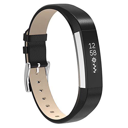 Henoda Fitbit Alta HR and Alta Bands, Black Classic Genuine Leather Replacement Wristband for Fitbit Alta Fitness Strap Smartwatch