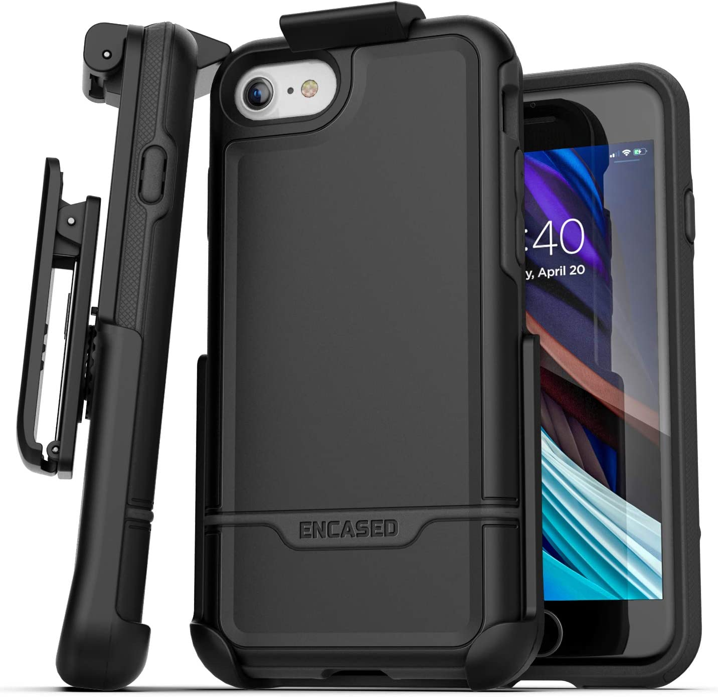 Amazon Com Encased Iphone Se Belt Clip Holster Case 2020 Rebel Armor Protective Rugged Full Body Cover With Holder Black