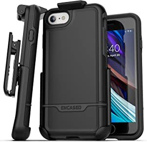 Encased iPhone SE Belt Clip Holster Case (2020 Rebel Armor) Protective Rugged Full Body Cover with Holder (Black)