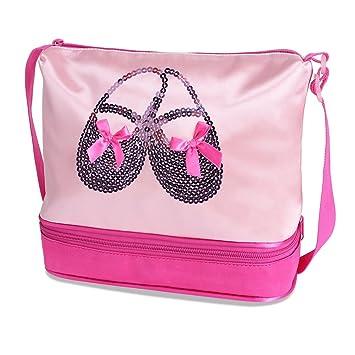 HUANQIUE Girl Ballet Dancing Bag Ballerina Backpack Pink Dance Shoes  Gymnastics Ballet Dress Hotpink Hang Bag adb12b1ba1b67