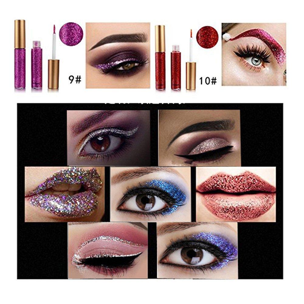 10 Colors Liquid Glitter Eyeliner Metallic Shimmer Glitter Eyeshadow Pigment Eyebrown Shimmer Waterproof Face Lips Art for Party Festival Makeup by Bestland (Image #3)