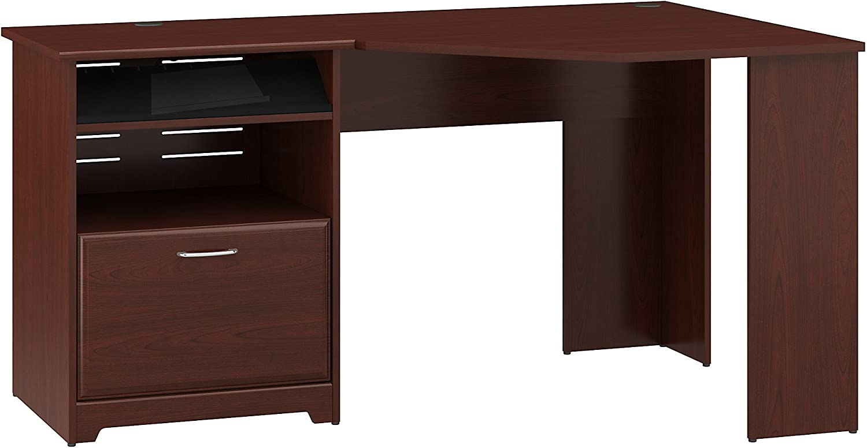 Bush Furniture Cabot Corner Desk with File Drawer in Harvest Cherry