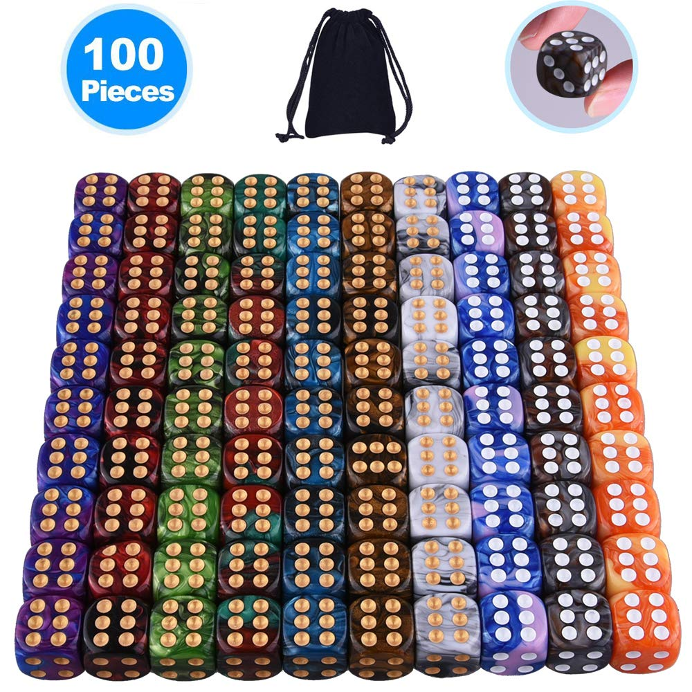 AUSTOR 100 Pieces 6 Sided Game Dice Set 10 Two Tone Colors Dice Round Corner Dice(Free Pouch) by AUSTOR