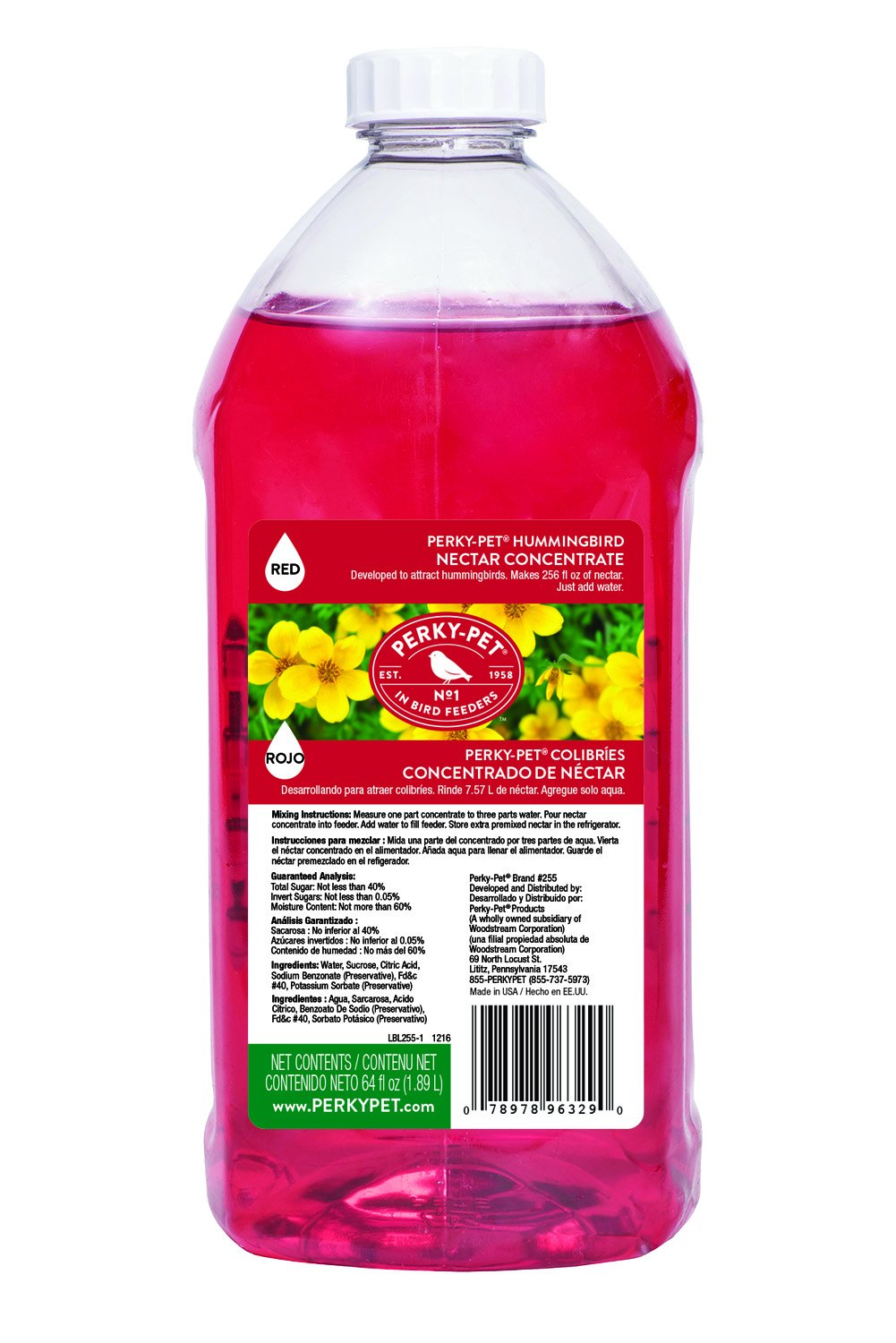 Perky Pet 255 Hummingbird Nectar Concentrate, 64 oz, Red Perky-Pet