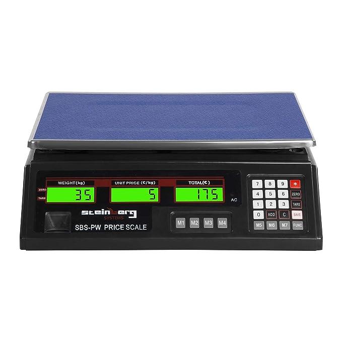 Steinberg Systems Balanza Comercial Bascula Digital SBS-PW-352B (35 kg / 2 g, Pantalla LCD, Batería integrada 40 h) Negra: Amazon.es: Hogar