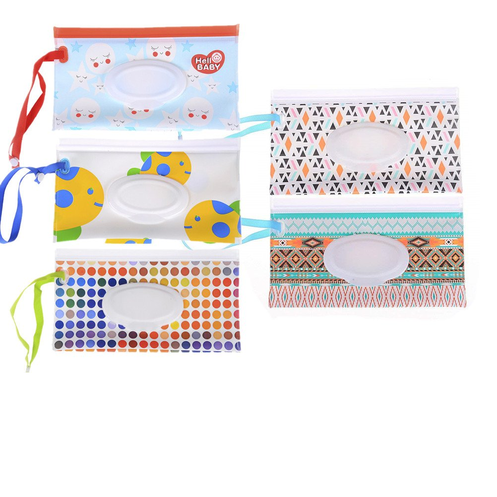 Welecom 5 Pack EVA Baby Wet Wipe Pouch Bag Travel Wipes Case Reusable Refillable Wet Wipe Bag Cases Portable Travel Wipes Dispenser Wipe Pouches Cotton pad Travel Container