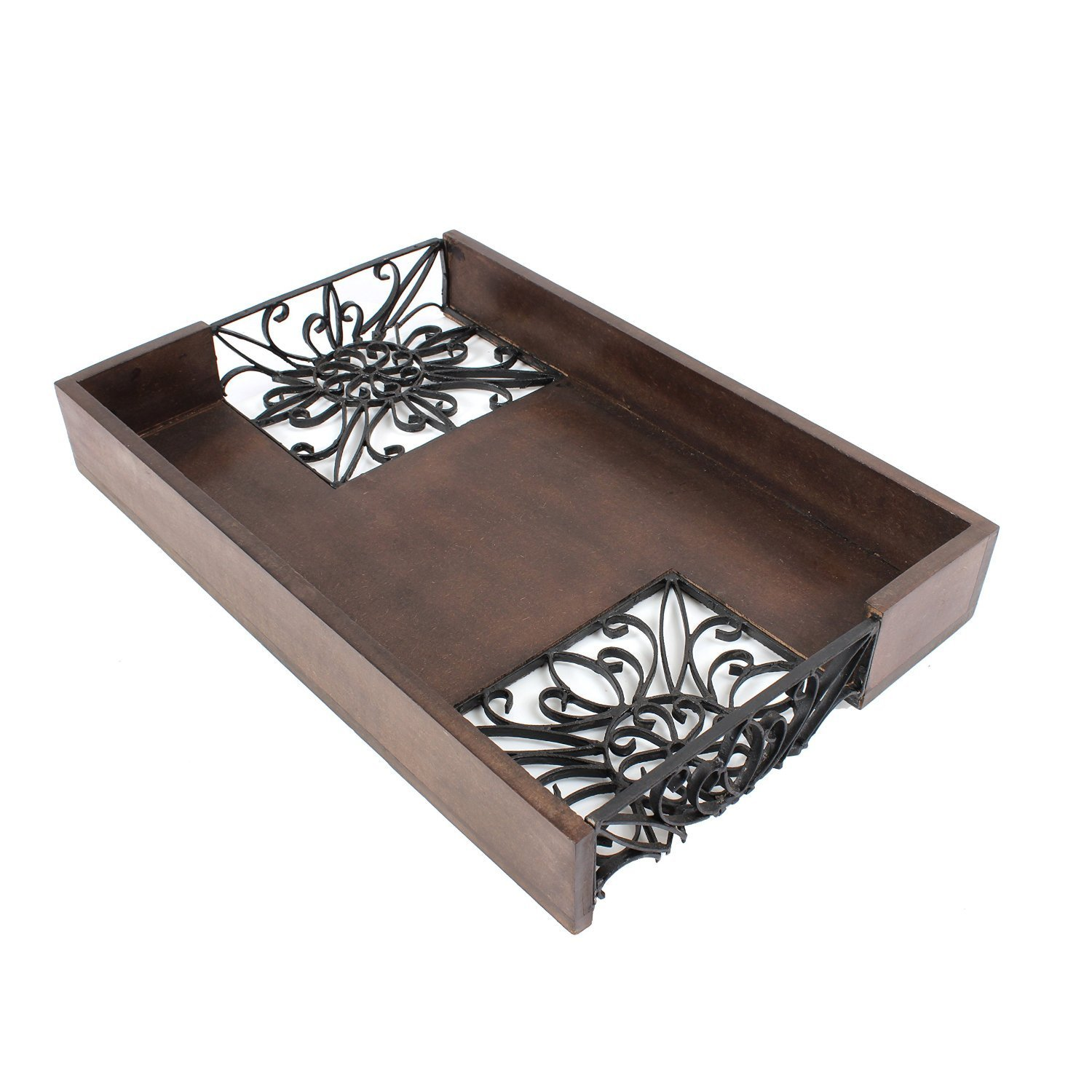 Store Indya Wooden Rectangular Breakfast Serving Tray Rustic Hand Carved Decorative Kitchen Accessories storeindya
