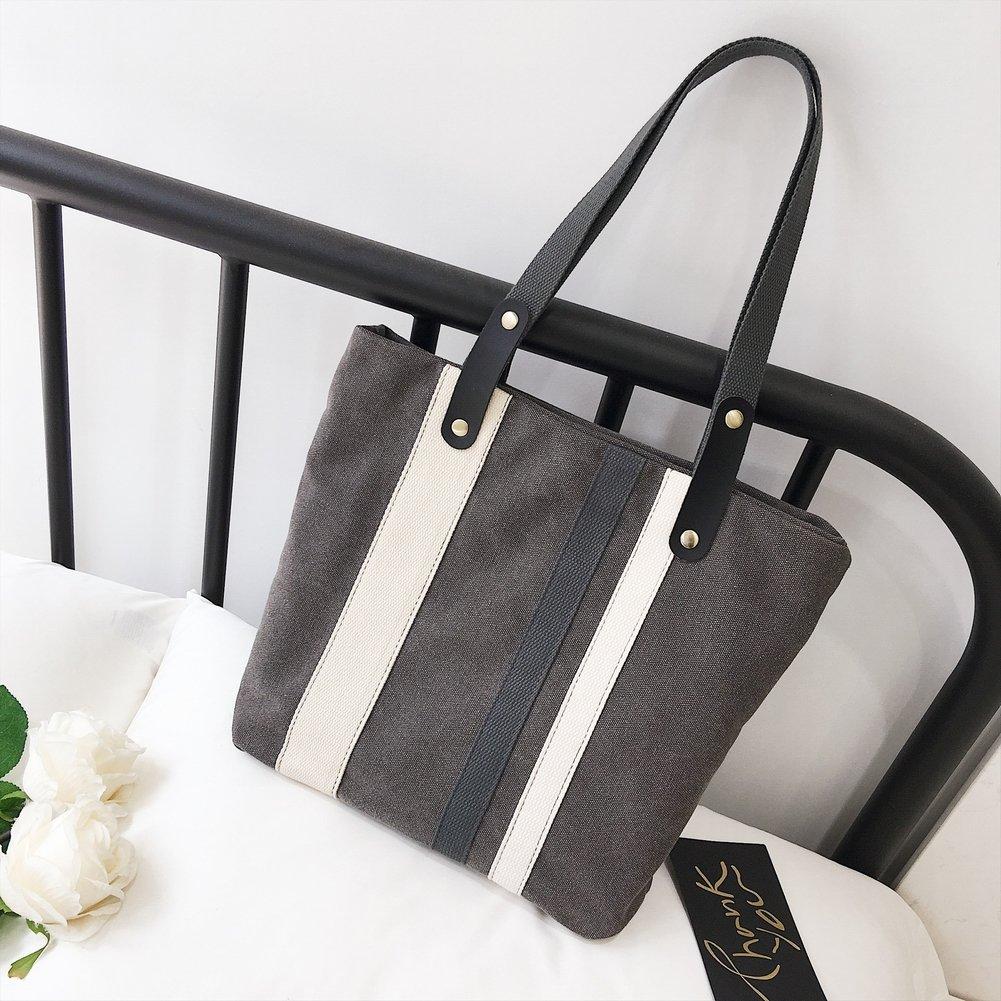Gestreifte Mode Nähen Große Kapazität Leinwand schwarz Handtaschen , schwarz Leinwand db13bd