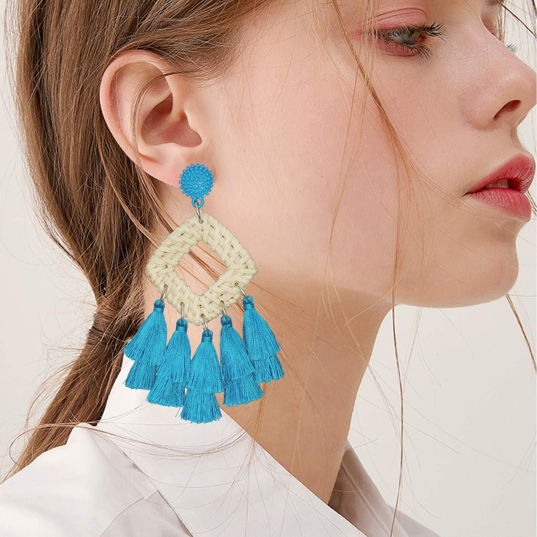 Bohemian earrings Natural jewelry Cotton tassel Boho earrings Wedding Bali earr Christmas Gift for women Beauty gift Wooden Jewelry Unusualy