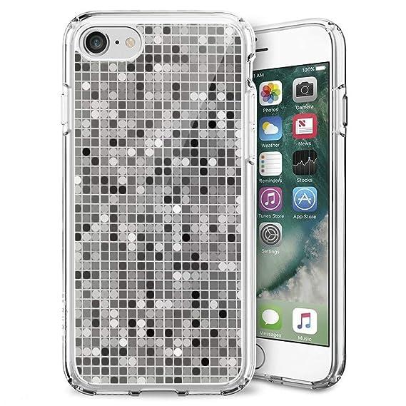 premium selection 4e5d2 7c7cf Amazon.com: Grey and White Dots iPhone 7 8 Plus Case, Transparent ...