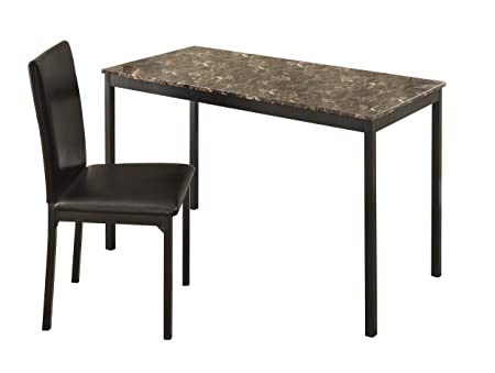 Homelegance 2601-15 Tempe Faux Marble Writing Desk with Chair Brown