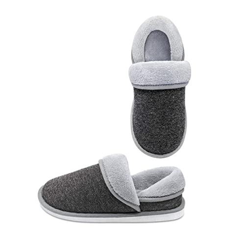Unisex Cozy House Slippers,Fluffy Foldable Boots Moccasin Slippers Warm Winter Shoes Indoor Outdoor ((for Men) 10-11 B (M) US, Dark Grey)