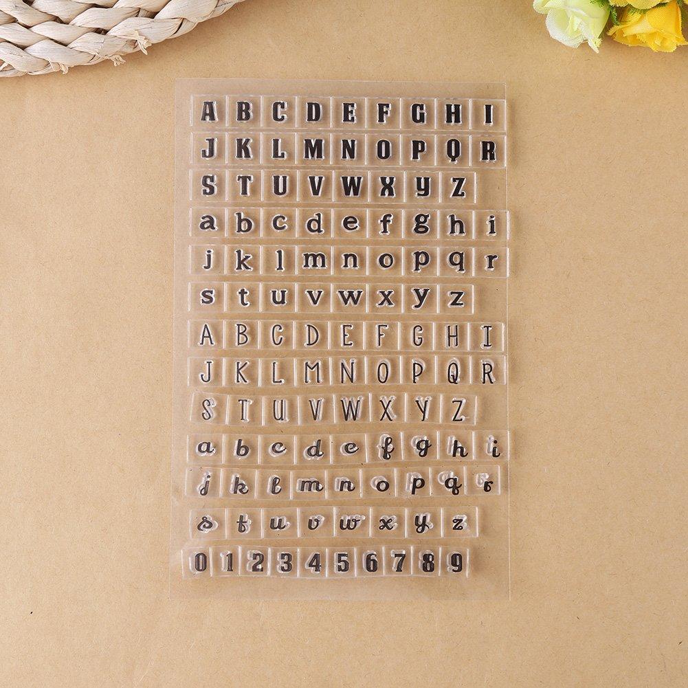 Y37 - Jahr Monat Tag Transparent Klar Silikon Briefmarken Alphabet Buchstaben Zahlen PVC Planer Stempel Scrapbooking Karte Tagebuch Album