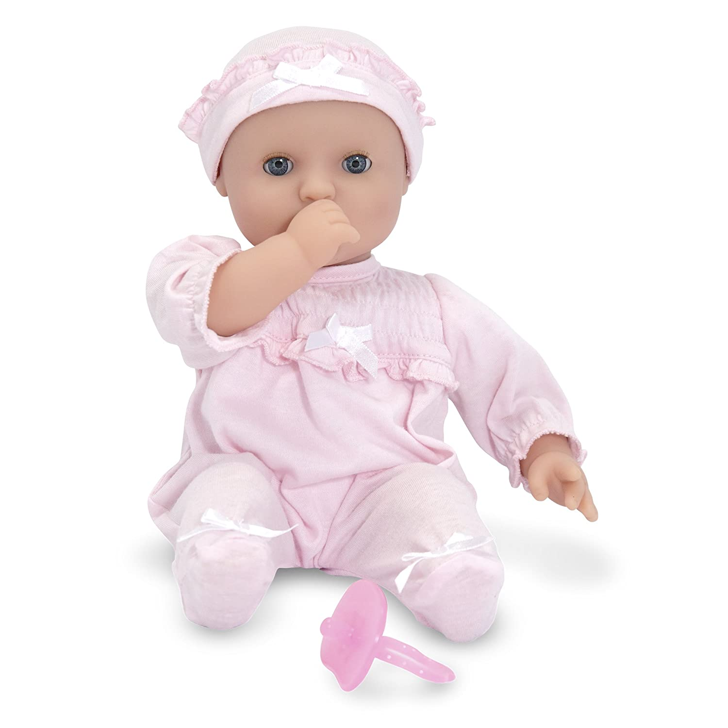 Melissa /& Doug Mine to Love Jenna 12-Inch Soft Body Baby Doll 12.5 H x 7.2 W x 4.7 L Wipe-Clean Arms /& Legs Romper and Hat Included