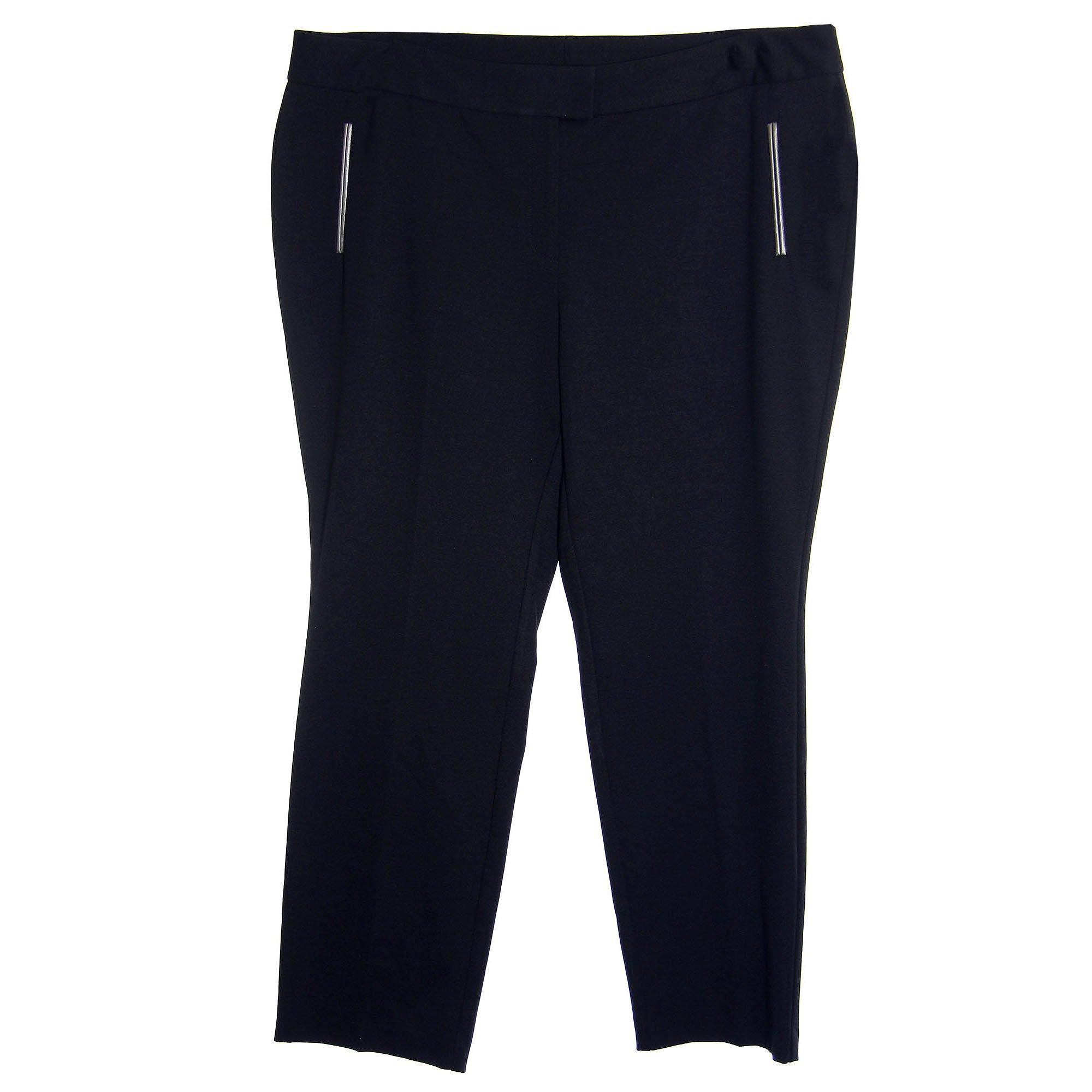 Alfani Women's Plus Size Tummy Control Slim Leg Faux Leather Trim Pants 24w Black