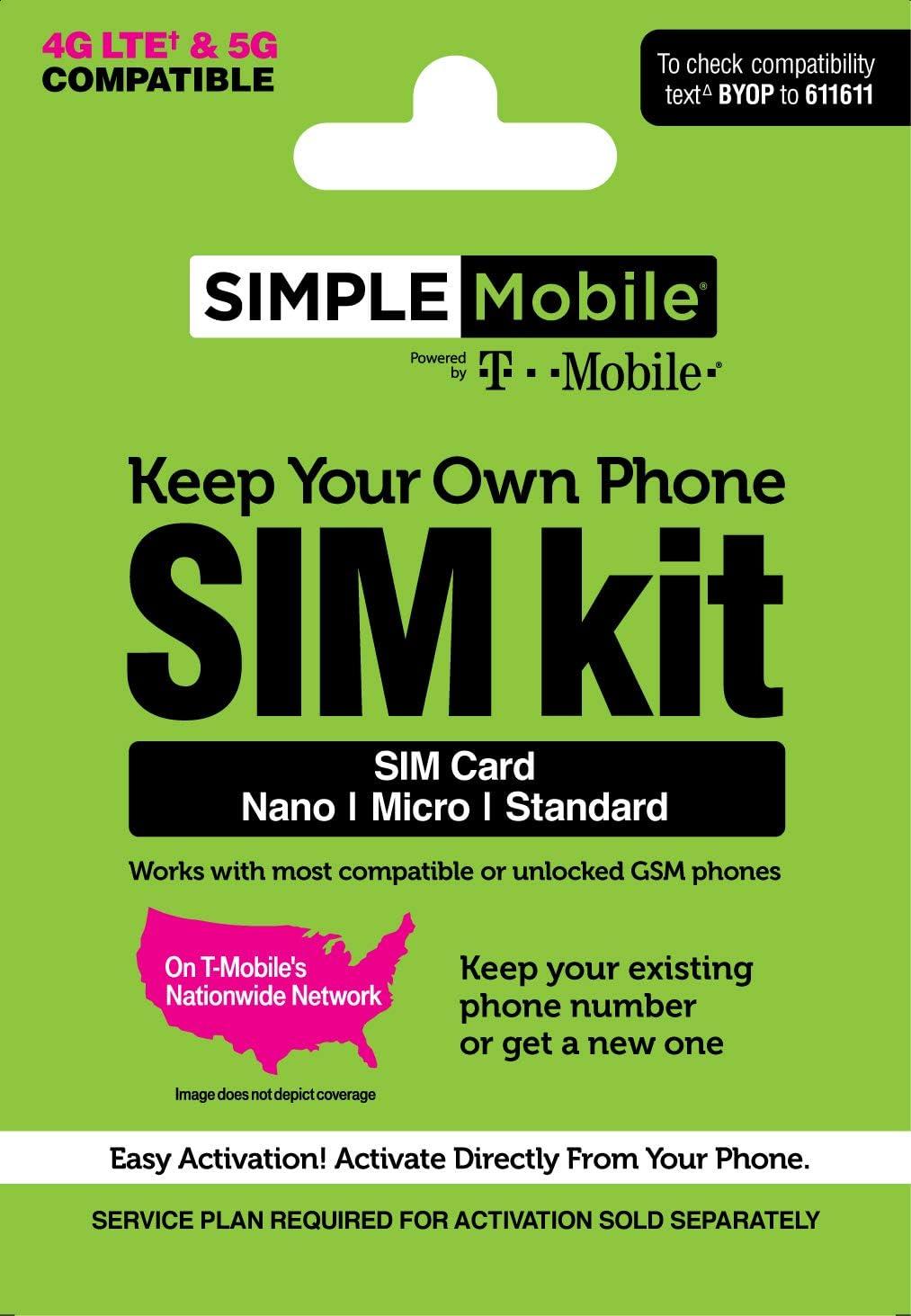 Simple Mobile Keep Your Own Phone 3-in-1 Prepaid SIM Kit