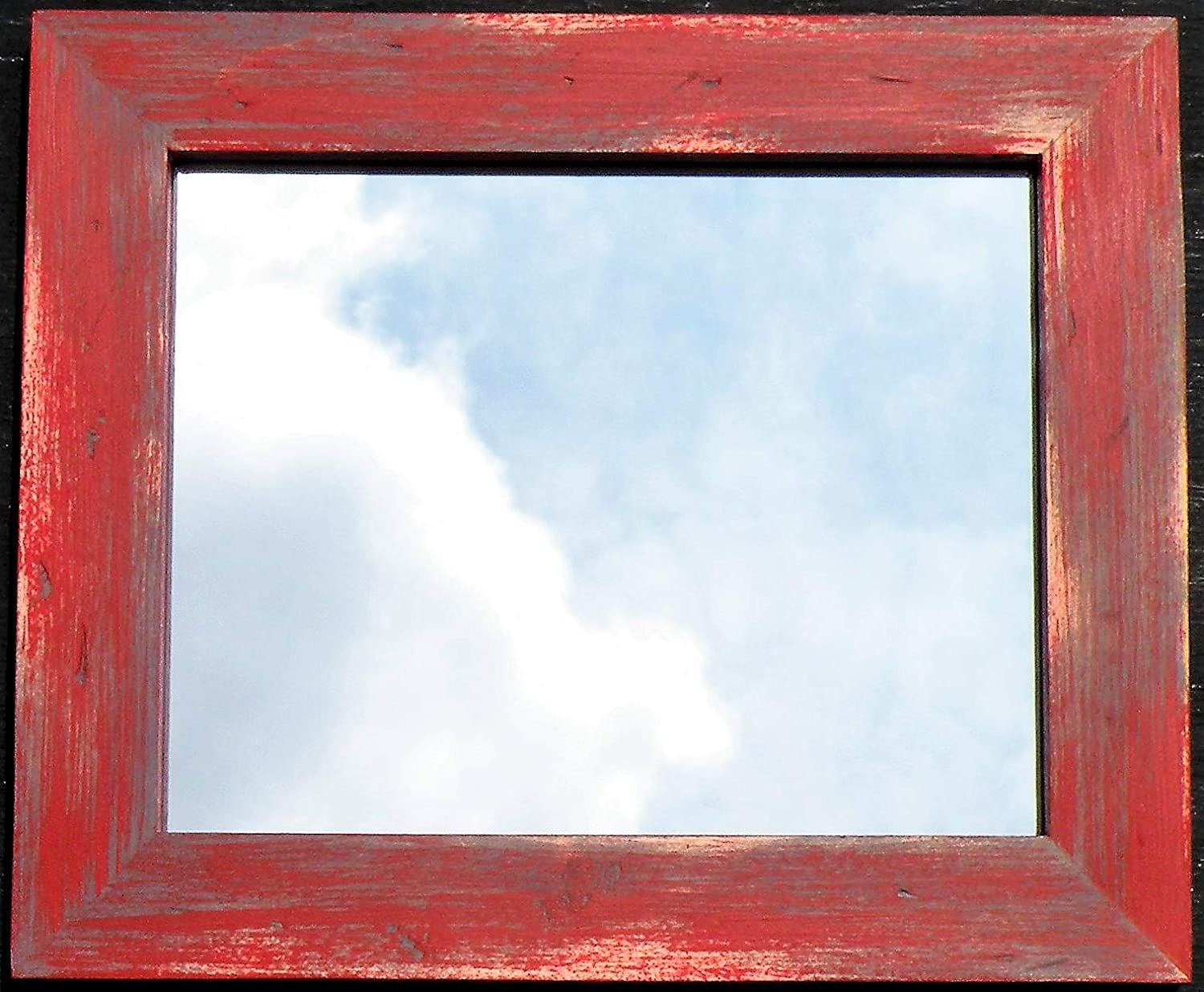 Handmade Distressed Barn Red Farmhouse Mirror, Hand Painted Rustic Barn Red Gray Pine Wood Framed Mirror, Barn Red Hand Crafted Rustic Wood Mirror, Red Gray Vanity Mirror