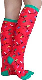 product image for Chrissy's Socks Women's Christmas Light Knee High Socks Red/Green