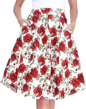 Luxspire Mujeres Estilo Retro Falda Plisada con Estampada Floral ...