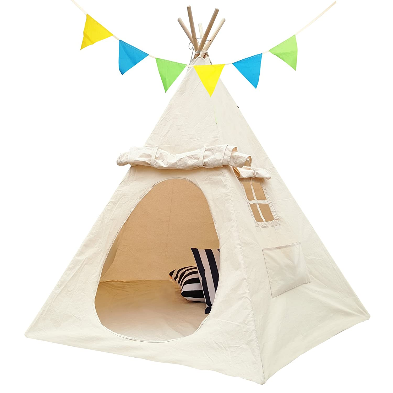 [Lavievert]Lavievert Children Playhouse Indian Canvas Teepee Kids Play House with two Windows Comes with A Canvas [並行輸入品] B01KSWDTBG