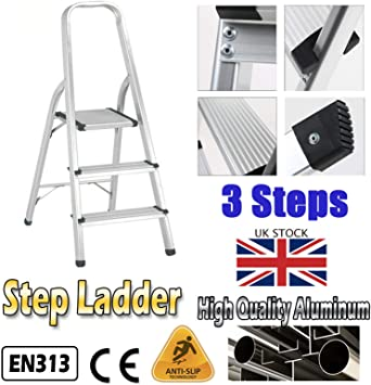 Escalera de aluminio ligera, compacta, plegable, para el hogar, oficina, construcción, estable, antideslizante, carga máxima de 330 libras: Amazon.es: Bricolaje y herramientas