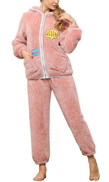 Dolamen Pijamas para Mujer Navidad Pijama Ropa con Capucha, Franela Grueso Pijamas Mujer Invierno Camisones