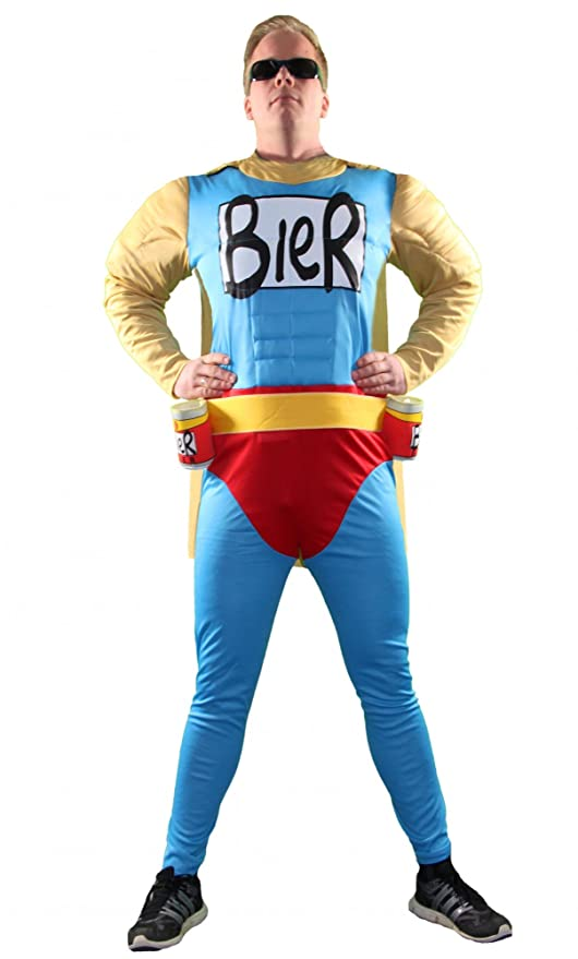 Foxxeo Das Männer-Kostüm   Biermann Comic Helden Kostüm für richtige Kerle   Größe S, M, L, XL, XXL   Besser kannst Du dich n