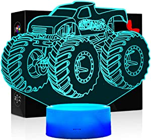 3D Illusion Lamps for Boys Bedroom Night lamp Kids Room Decor Monster Truck Kids Night Lights 7 Colors Change Decors Lamps Perfect Gifts for Kids or Monster Truck Fans
