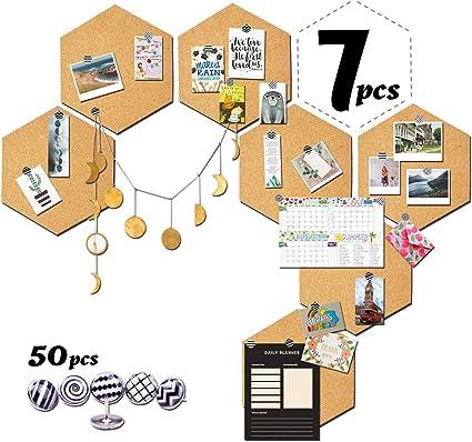 grigio Lavagna Sughero Esagonale Set 8 Bacheca in Sughero Esagonale per Appendere Le Foto Decorazione Murale in Ufficio Casa Scuola