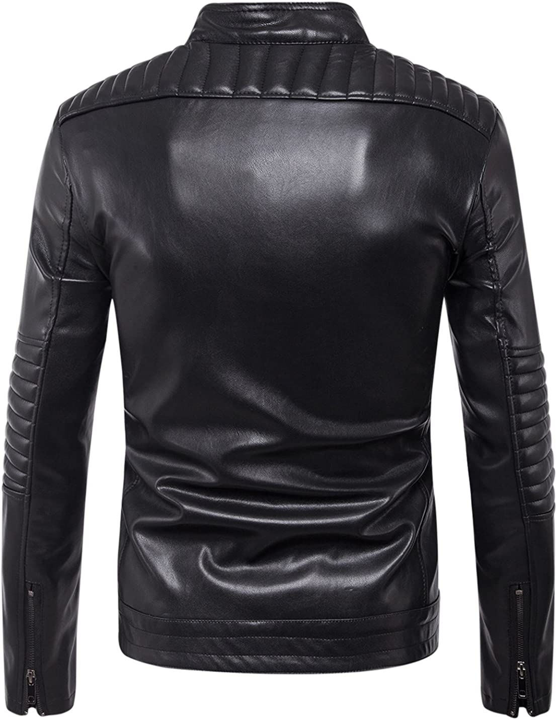 Tanming Mens Stand Collar Zipper Up Faux Leather Jacket Outerwear