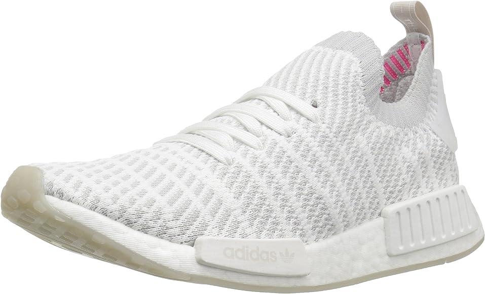 adidas Originals Men's NMD_R1 STLT PK Running Shoe, BlackGreySolar Pink, 9.5 M US