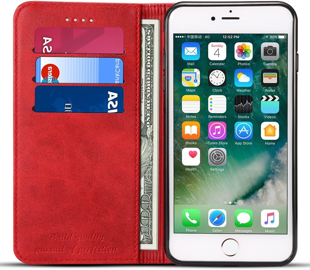 FLY HAWK Wallet Case Compatible iPhone Xs MAX/iPhone 10S MAX, Flip Premium PU Leather Cover Card Slot Holder with Kickstand for iPhone Xs MAX/iPhone 10S MAX (2018) 6.5 inch Red