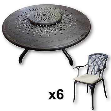 Lazy Susan - Table ronde 150 cm AMELIA, 6 chaises de jardin et ...