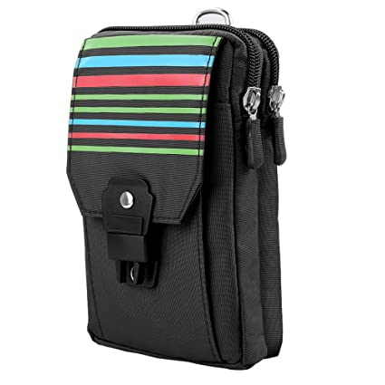 VG Stripe Outdoor Pouch Holster Pack Carry Accessory Kit Belt Loops Waist Bag for Samsung Galaxy