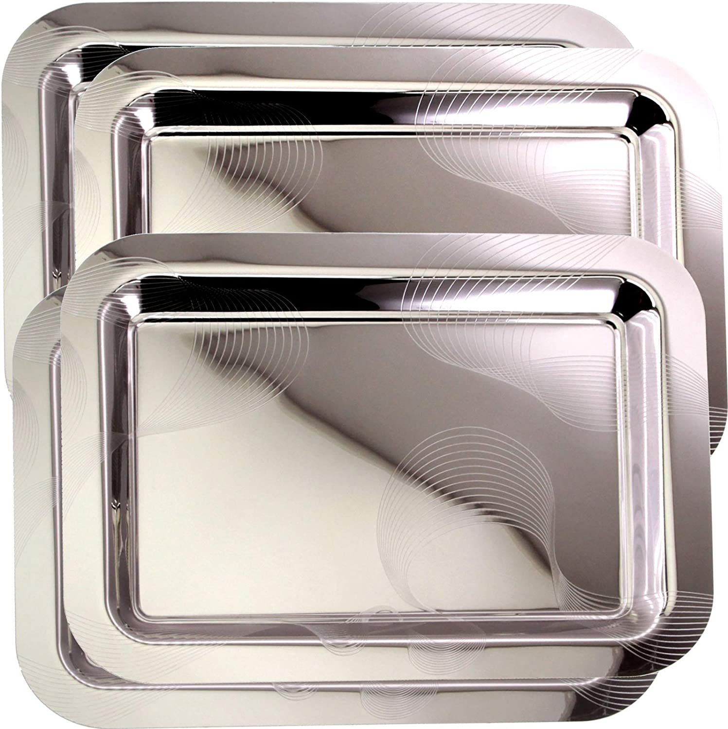 Maro Megastore (Pack of 4) 16.9 Inch x 12.2 Inch Oblong Chrome Plated Serving Tray Stylish Design Line Stripes Engraved Edge Decorative Party Birthday Wedding Dessert Buffet Wine Platter Plate CC-803
