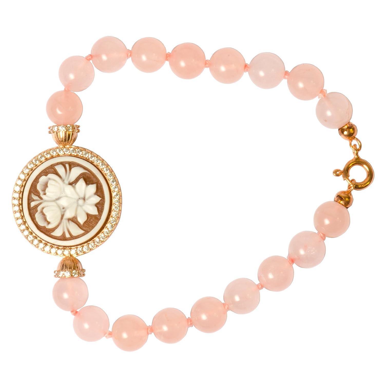 Floral Cameo Bracelet - Floral Sardonyx Shell Cameo Bracelet with 8 mm Pink Quartz Beads 25mm
