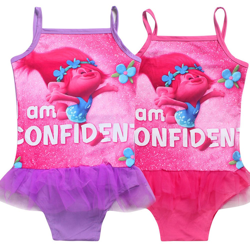 KIDHF Trolls One Piece Summer Swimsuit Girls Princess Swimwear
