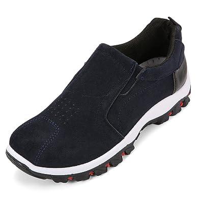 Gracosy Sneaker, Herren Damen Trekking-Schuhe Unisex Freizeitschuhe Wanderschuhe Outdoor Fitness Schuhe Sportschuhe Veloursleder Leicht Bequem Schwarz 45