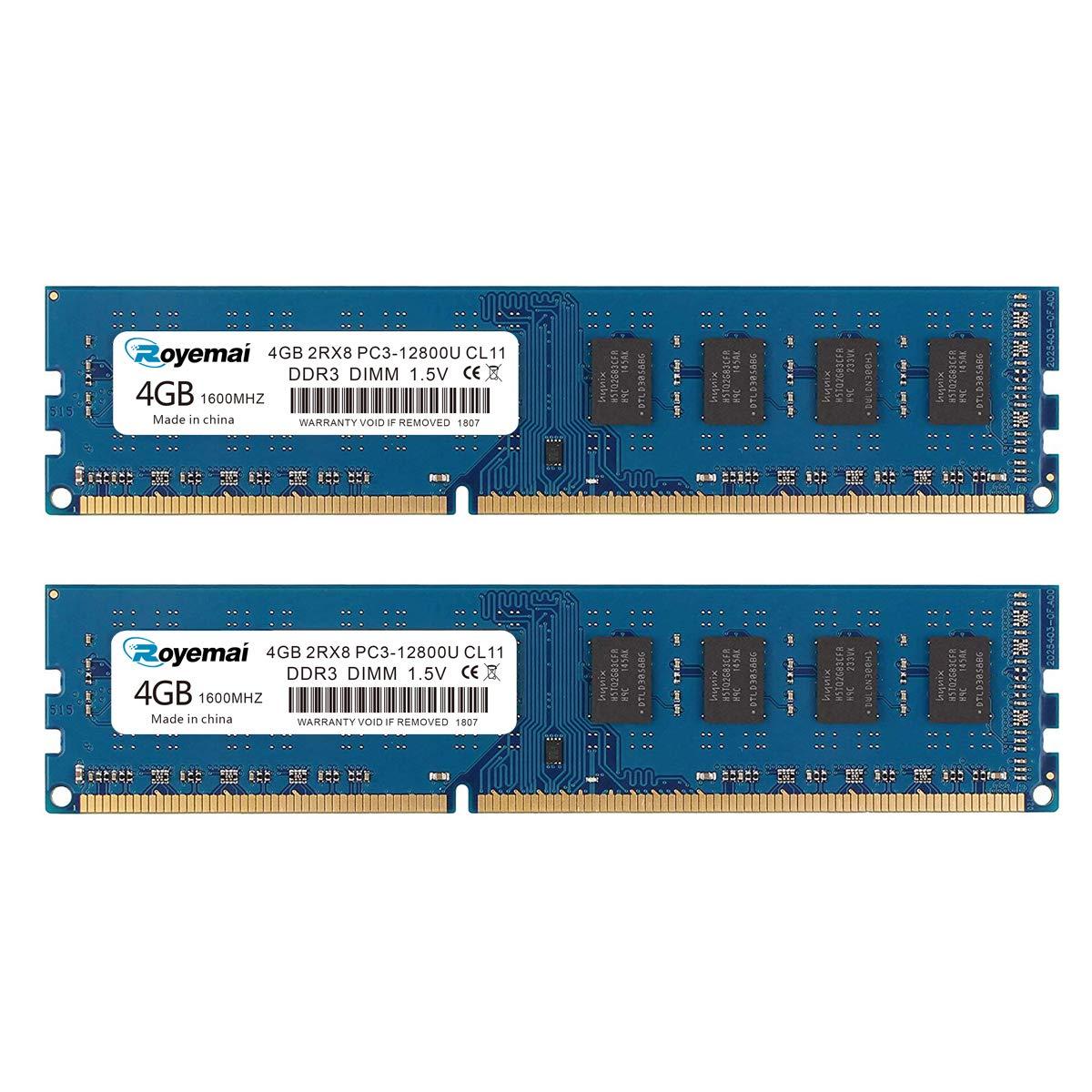Memoria ram 8gb (2x4gb) DDR3 1600 PC3-12800U Dimm