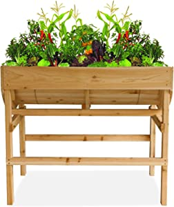Raised Garden Bed Elevated Wooden Planter Box Outdoor Planters Boxes with Legs for Vegetable Flower Herb, U-Shape Above Ground Gardening Beds with Protective Liner for Backyard Patio, Deck, Balcony