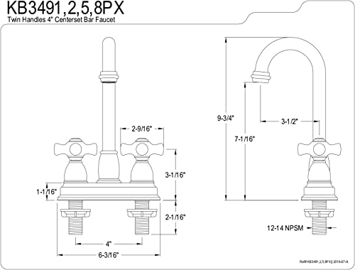 Kingston Brass KB3495PX Restoration 4-Inch Centerset Bar Faucet, Oil Rubbed Bronze