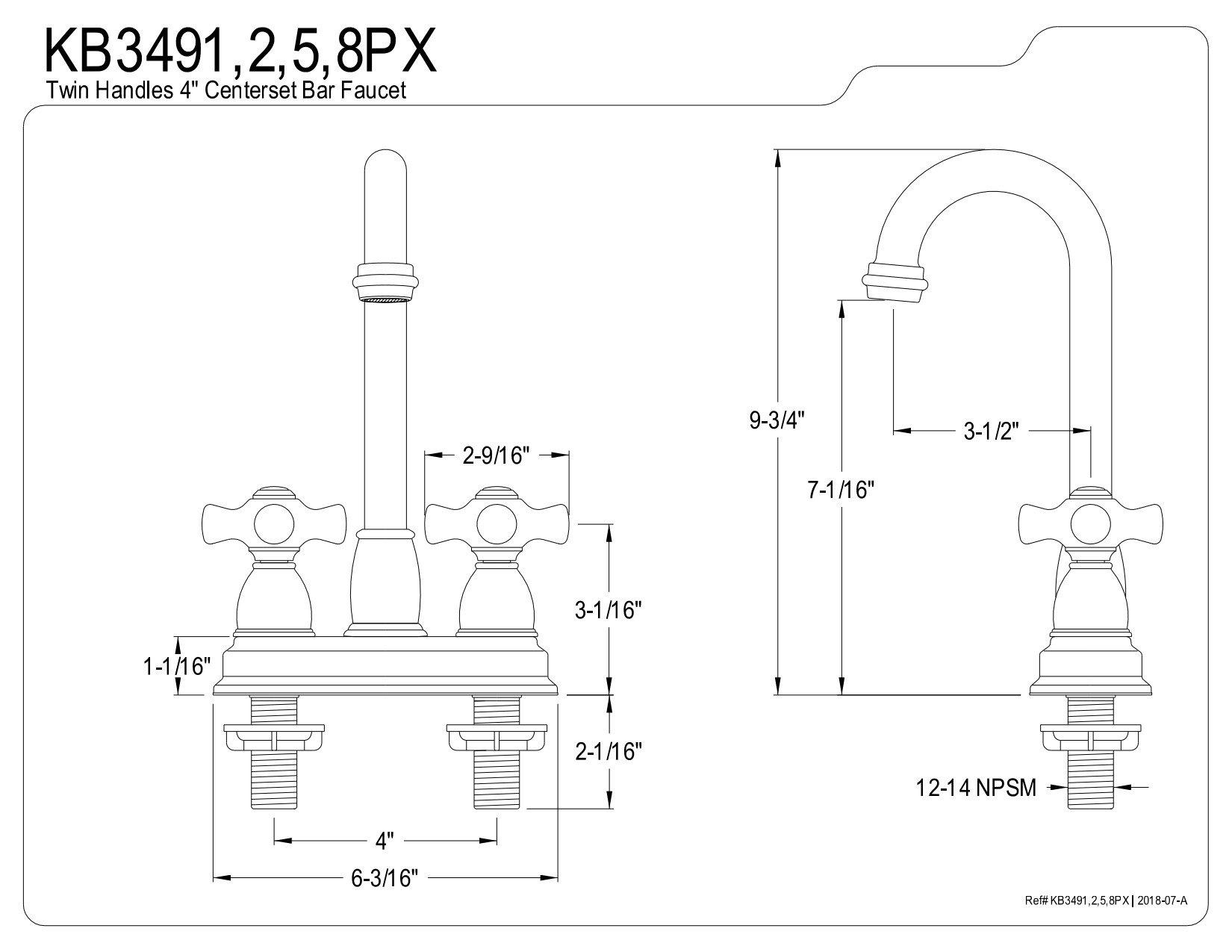 Kingston Brass KB3491PX Restoration Centerset Bar Faucet, 4-Inch, Polished Chrome by Kingston Brass