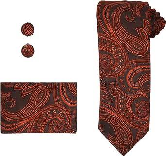 Epoint Men's Fashion Paisley Neck Tie Evening Silk Necktie Cufflinks Hanky Set