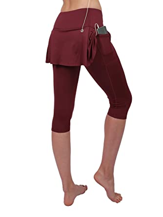 Amazon.com: Slimour Women Skirt Leggings Sport Capris Pants Running Tights with Pockets Athletic Capri: Clothing
