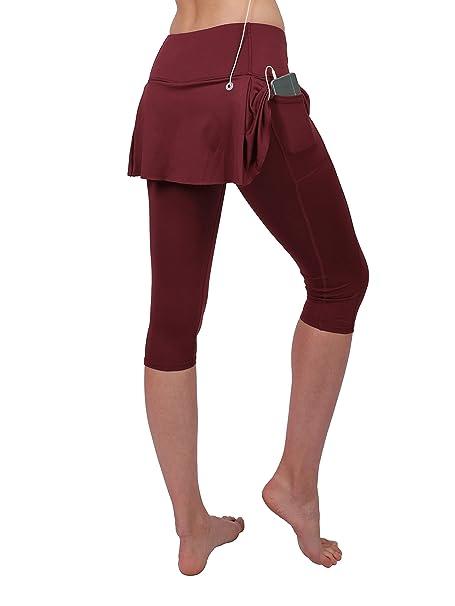 2d01162a6b Tennis Skirt Leggings Women Sports Running Skort Shorts Attached Pocket  Golf Yoga Trouser Capri Netball Hockey Scapri Burgendy: Amazon.co.uk:  Clothing